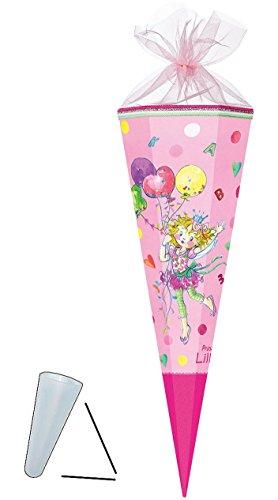 alles-meine.de GmbH Schultüte -  Prinzessin Lillifee  - 35 cm - rund - mit Tüllabschluß - Zuckertüte - Nestler - mit / ohne Kunststoff Spitze - für Mädchen - Blütenfee Rosa Luf..