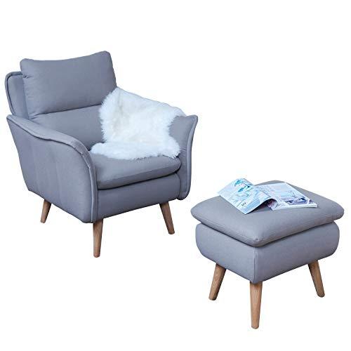 Relax Sessel skandinavisch + Hocker als Ohrensessel modern im Retrodesign mit Schlaffunktion Fernsehsessel Ruhesessel TV-Sessel Stuhl Relaxstuhl Liege Sessel mit verstellbarer Rückenlehne und Fussteil