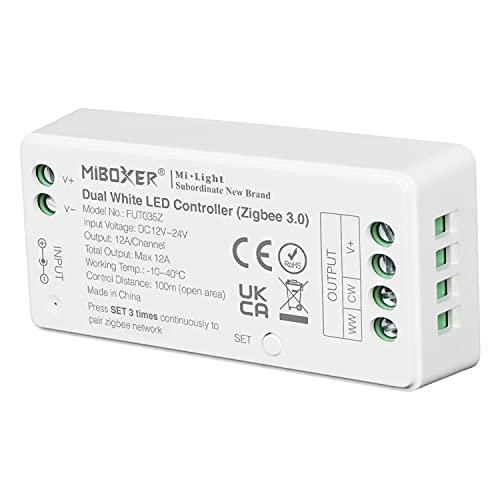 LIGHTEU®, Milight Miboxer Zigbee3.0 CCT WW/CW controlador de doble tira de LED blanco 12V-24V compatible con Zigbee Hub Amazon Echo Plus Alexa y Lightfy Hub para control de APP/voz, FUT035Z
