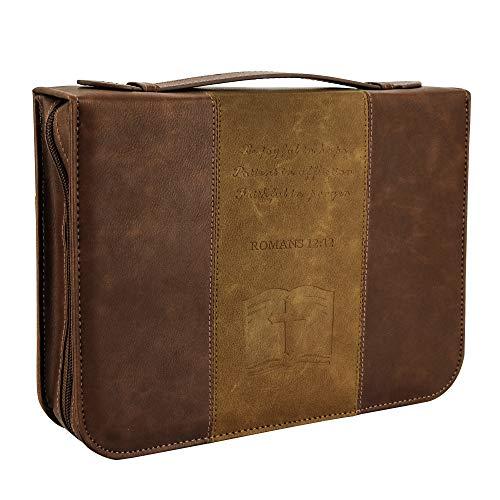 IvyRobes Funda de la Biblia Cruzada para los Hombres Vintage Marrón PU Cuero Durable Cremallera Bolsa de la Biblia Bolsa de Transporte Bolsa de Gran Tamaño