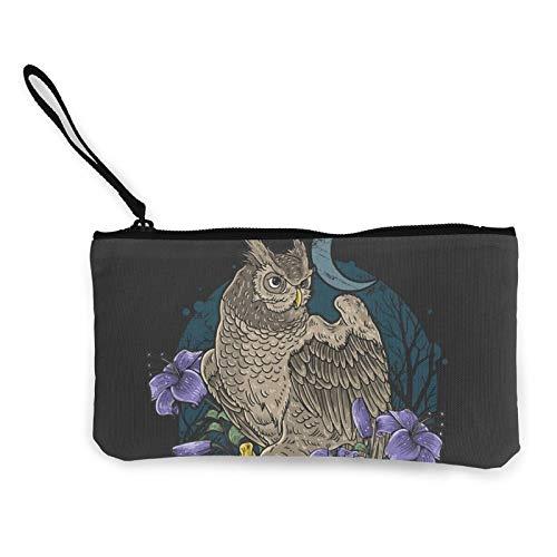 Moneda de lona, diseño de búho, flores con calavera, bolsa de cosméticos de viaje con cremallera, bolsa de maquillaje multifunción para teléfono móvil, estuche con asa