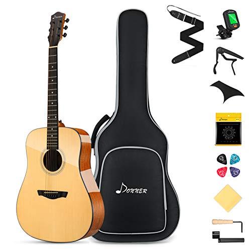 Donner Guitarra Acústica 4/4 Adulto Kit Guitarra Folk Principiante 41 pulgadas Madera Maciza con Bolsa Afinador Correa Cuerdas Capo Natural