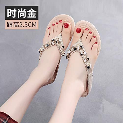 Shukan flip-lops voor dames, zomer, buiten, modieus, sandalen, vlak, strass, zeerand, vakantie, schommel, flops, strandschoenen, zonder slip