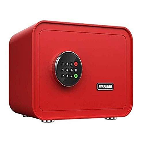 RTYUI Caja de seguridad electrónica digital, pequeña contraseña para el hogar, 25 cm, mini alarma de oficina, extensión en la pared en el armario, efectivo y joyería, caja de seguridad (color: rosa)