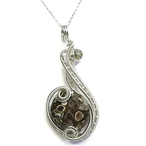 Turritella Agate and Sterling Silver Wire-Wrapped Necklace with Swarovski Crystal