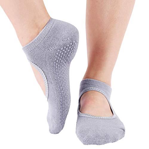 strümpfe damen Liusdh,Tanzsport Yoga Pilates rutschfeste Griffe Ballett kurze Socken(E,Freie Größe)