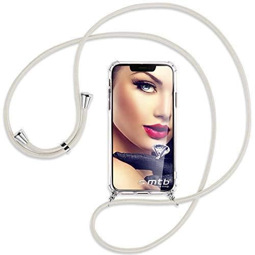 mtb more energy® Handykette kompatibel mit Motorola Moto G10, Moto G20, Moto G30 (6.5'') - Broken White - Smartphone Hülle zum Umhängen - Anti Shock Full TPU Hülle