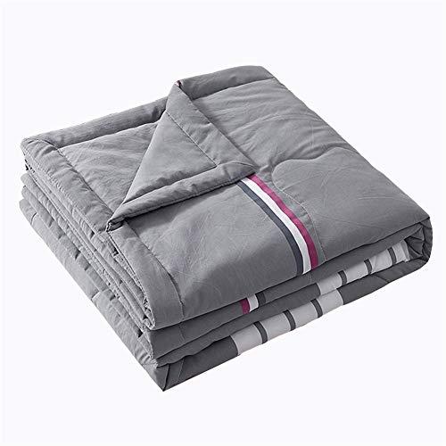 Colcha acolchada, reversible, colcha de cama, decoración de celosía, ultra suave, acolchado (rayas azules, 110 x 150 cm)