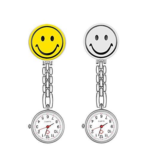 2 Pack CestMall Nurse Watch para Mujeres, enfermería Fob Relojes Medical Pocket Paramedic de Cuarzo Quartz Watch Dial Diseño Clip-on Acero Inoxidable Reloj de Enfermera, Reloj de Bolsillo