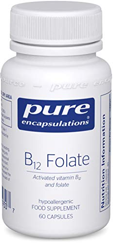 Pure Encapsulations - Activated Vitamin B12 and Folate - Methylcobalamin/L-5-methyltetrahydrofolate (L-5-MTHF) Tiredness and Fatigue Supplement - 60 Capsules