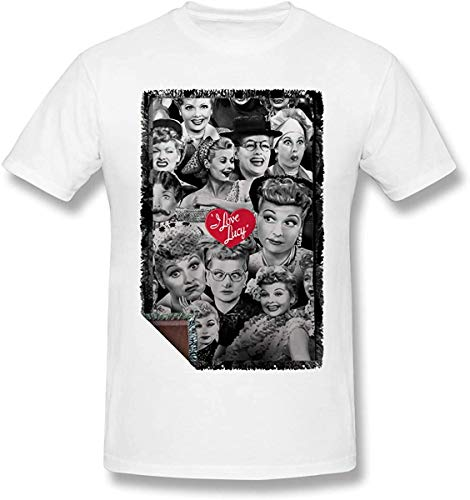 Herren T-Shirt 'I Love Lucy Gray', kurzärmelig, Schwarz Gr. 56, weiß