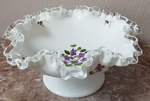 Fenton Art Milk Glass Silver Crest Ruffled Edge Compote/Bowl - Handpainted Violets on the Snow USA