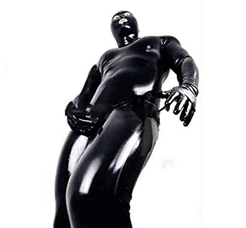 SEXCATS Sexy Herren Lackleder Wetlook Catsuit Dessous Unterhemd Fitness Body Schwarz Clubwear,XXL