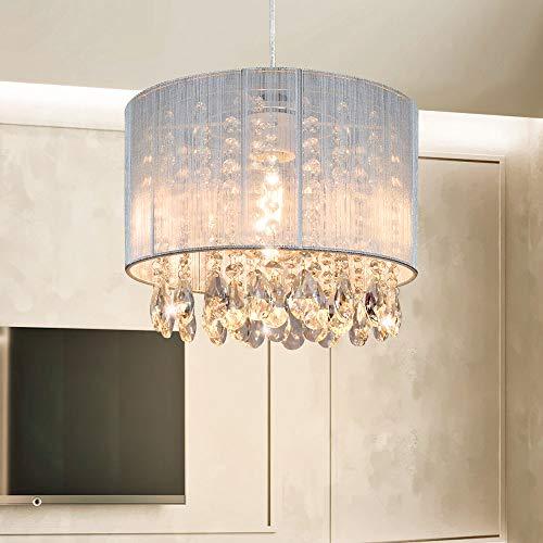 Depuley LED Kristall Hängelampe, Höhenverstellbar Hängeleuchte Rund, Modern Kronleuchter, LED Pendelleuchte Crystal Lüster, Max. 60 Watt (Glühbirne Nicht Enthalten)