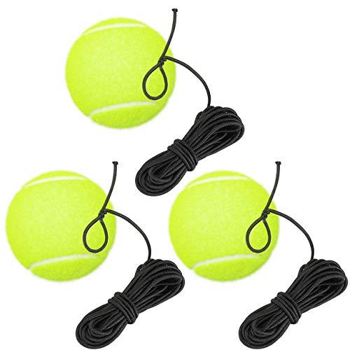 Fostoy Tennisbälle mit Schnur, 3 Stück Elastischer Tennis Trainingsball für Tennistrainer, Rebound Ball für Kinder Erwachsene Anfänger Selbstlern Übung Indoor Outdoor