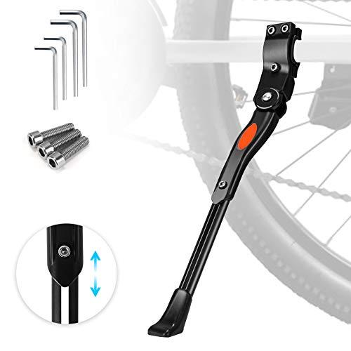 WisFox Cavalletto Regolabile per Bici 24-29' con Nottolino Nascosto Caricato a Molla Alluminio Bici Ciclo Bicicletta Robusto Cavalletto Kick Stand Supporto per MTB (Nero)