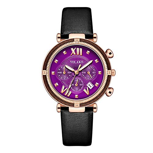 JZDH Relojes para Mujer Relojes de Mujer Moda Casual Banda de Cuero Reloj de Pulsera Reloj Reloj Hembra Cuarzo Reloj Regalos laies Relojes Decorativos Casuales para Niñas Damas (Color : E)