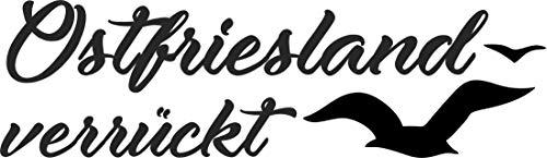 WB wohn trends Auto-Aufkleber ~ Ostfriesland verrückt ~ schwarz, 15cm breit ~ KFZ-Sticker