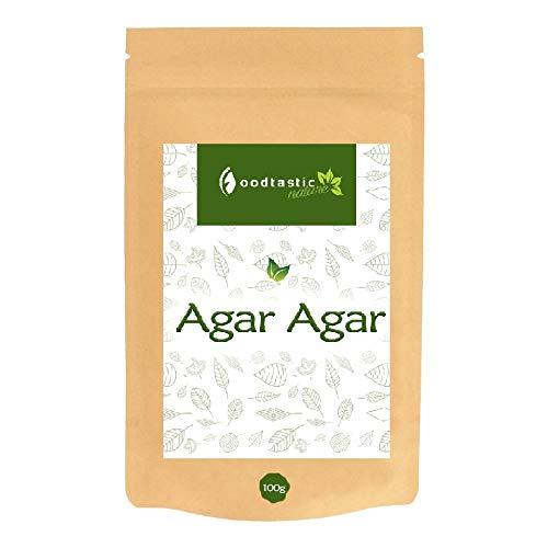 Foodtastic Agar Agar 100g, feines Pulver in Lebensmittelqualität, pflanzliches Geliermittel als veganer Gelatine Ersatz