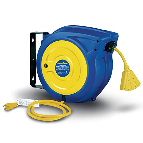 Goodyear Extension Cord Reel Retractable 14AWG x 65' Foot 3C/SJTOW Commercial Cable Triple Tap Connector Power 10A 125VAC 1250W