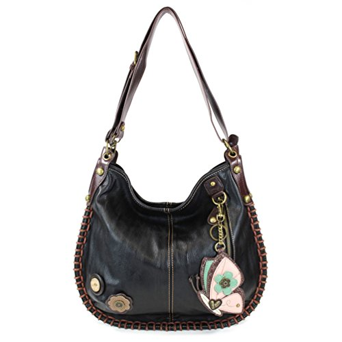 CHALA Crossbody Handbag, Hobo Style, Casual, Soft, Large Bag Shoulder or Crossbody - Black (Butterfly)