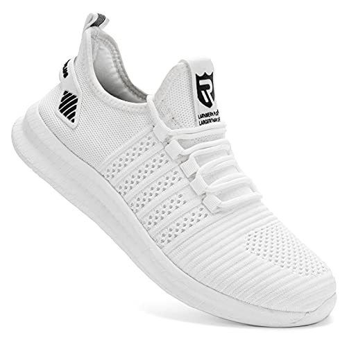 LARNMERN PLUS Mens Running Shoes Breathable Walking Sneakers Athletic Tennis Shoes Jogging Shoes(White, 9)