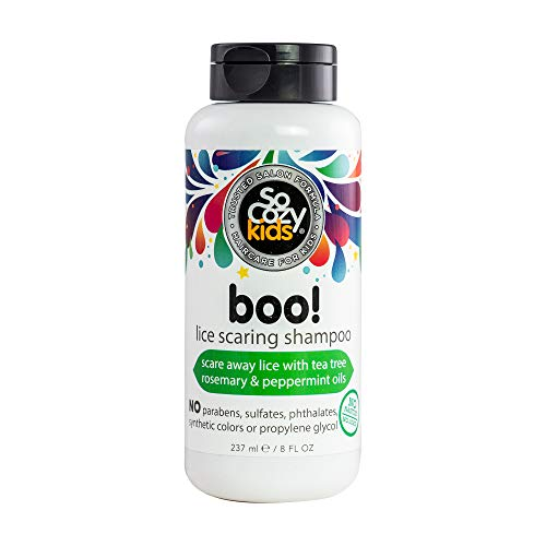 SoCozy Boo! Lice Scaring Shampoo For Kids Hair Scare Away Lice with Tea Tree, Rosemary and Peppermint Oils No Parabens, Sulfates, Synthetic Colors or Dyes, Natural, Zero fragrance, 8 Fl Oz
