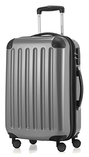 HAUPTSTADTKOFFER - Alex - Carry on luggage On-Board Suitcase Bag Hardside Spinner Trolley 4 Wheel Expandable, 55cm, silver