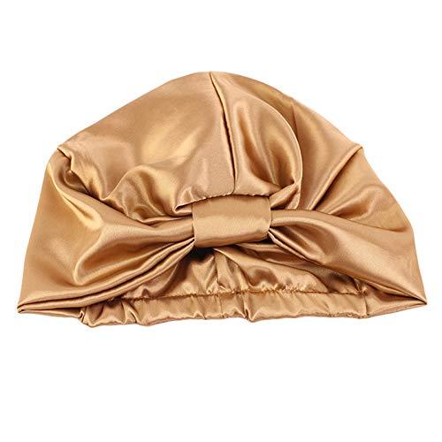 GROOMY Bonnet de Nuit, Bonnet de Couchage en Fausse Soie pour Femme, Couleur contrastée