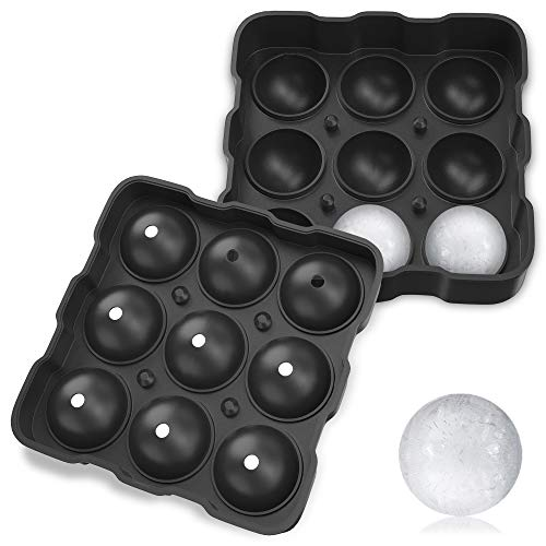 Premium Ice Cake Ball Maker, Whiskey Ice Mold, 9 Spherical Balls Ice Tray makes 1.8    4.5cm Sphere, 3 Securing Systems Preventing Leakage -Silicone