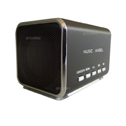 Stereo Mini Lautsprecher, Speaker 4in1 Handybox mit FM Radio, USB Stick-Slot, MircoSD Kartenslot & 3,5mm Klinke Line-In Eingang für Handy, Smartphone, MP3-Player, PC Boxen