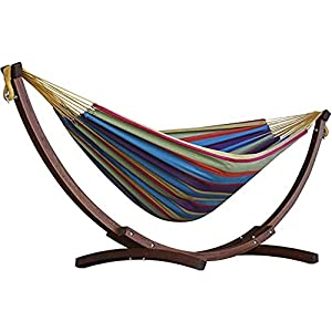 Vivere Double Cotton Hammock with Solid Pine Arc Stand - Tropical