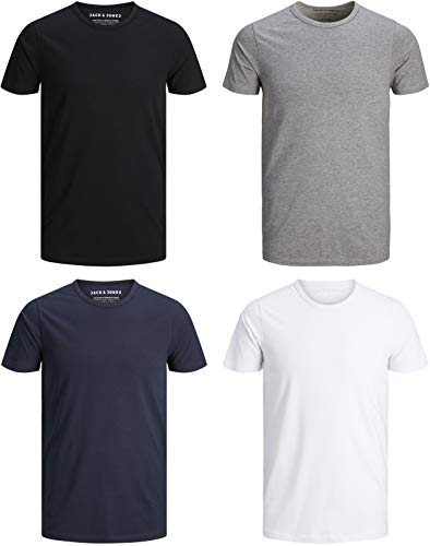 JACK & JONES Herren T-Shirt Basic 4er PACK O-Neck Tee (L, 4er O-NECK Mix)