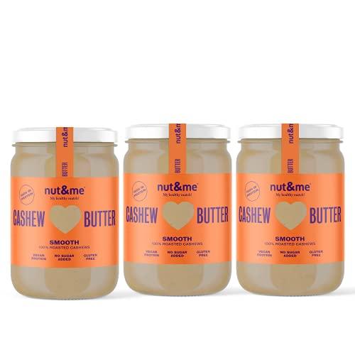Crema de anacardos BIO nut&me | Hecho con anacardos tostados y aceite de almendra | Sin azucar, sin gluten y sin aditivos | Sin aceite de palma | Pack 3 botes (0,330 kg/unidad)…