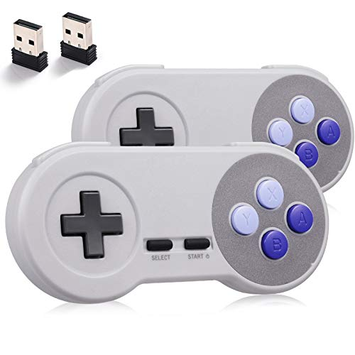 miadore 2Pack 2.4GHZ Wireless SNES Controller for SNES/NES PC...