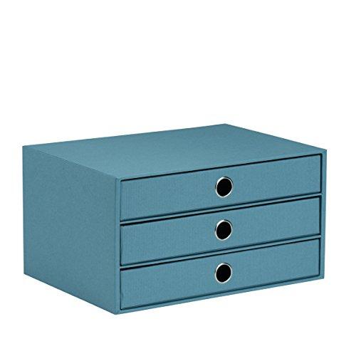 Rössler 1524452153 - S.O.H.O. 3er Schubladenbox für DIN A4, mit Griffloch, Denim