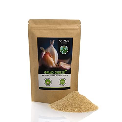 Ajo granulado (250g), ajo molido, 100% natural de ajo suavemente secado, naturalmente sin aditivos, vegano, ajo especia