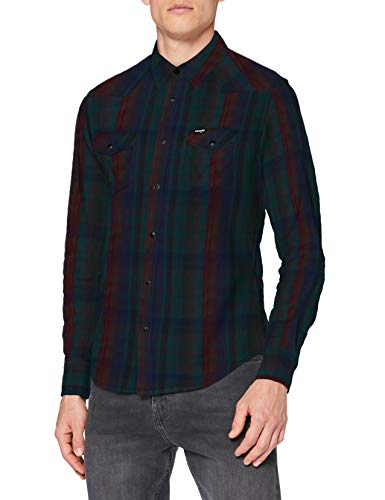 Wrangler LS Western Shirt Camisa, Gris (Dark Grey Mel X06), Small para Hombre