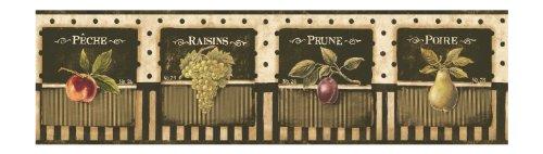 York Wallcoverings Europa II Vintage Fruit Label Prepasted Border, Charcoal/Beige/Tan/Green/Red/Purple