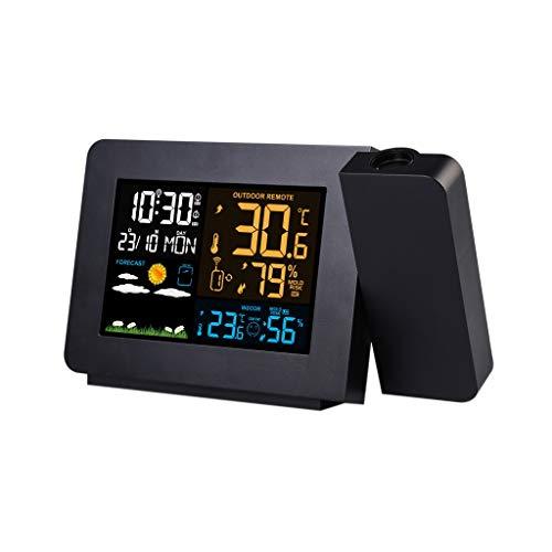 XF-B Estación Meteorológica con Reloj De Alarma De Proyección De Radio Digital con Sensor De Temperatura Pantalla LCD Colorida Pronóstico del Tiempo