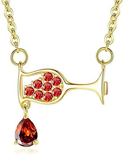 ZPPYMXGZ Co.,ltd Collar de Moda Collar Elegante Señoras Copa de Vino Collar de circón Collar de Cristal Simple Collares de Fiesta