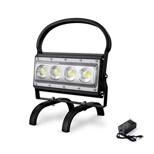 Foco Reflector portátil de 100 W LED Recargable, 5000 LM Luz de Trabajo superbrillante Luces de Obra Regulables, Puertos de Salida USB, batería 13200 mAh, IP65 a Prueba de Agua par