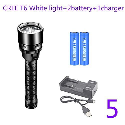 TONGTONG Lampe de Poche de plongée L2 18650 Torche de plongée sous-Marine Portable 80 mètres Camping Dimming USB étanche facturable,5
