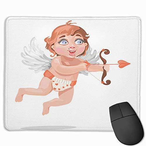 Muiskussen, bureaumuis, muismat schattig baby cupid in luier met harten en mooie boog vliegen met de vleugels