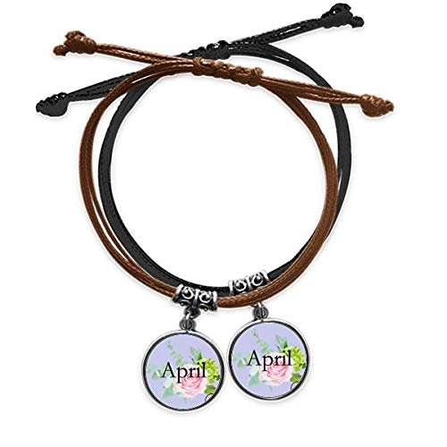 OFFbb-USA Charming Rose April Design Pattern Bracelet Double Leather Rope Wristband Couple Set Gift -  x10092567b10052313f252420