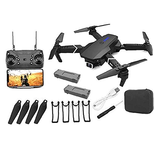 Hainice Drone - Dual Fotocamera Pieghevole Video Drone Live Drone, GPS Quadcopter Fusisolage Rotolamento 360 °, Facile per Principianti - E88 PRO, 4K HD, 2 batterie