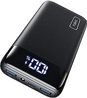 INIU Powerbank, 20W PD3.0 QC4.0 Schnelles Aufladen 20000mAh LED Display Externer Akku, Tri-Outputs USB C Power bank...