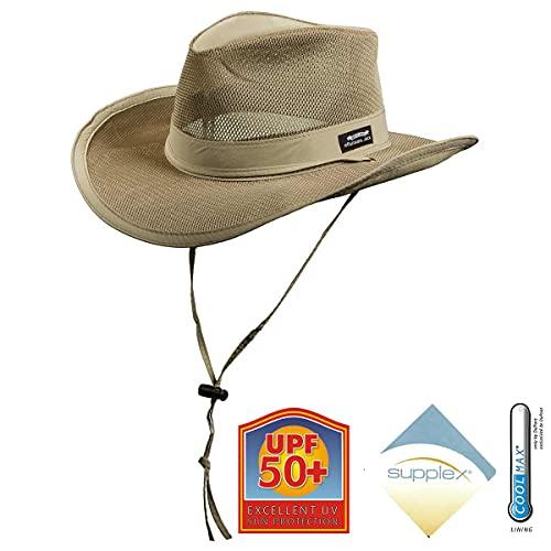 Panama Jack Mesh Crown Safari Sun Hat, 3' Brim, Adjustable Chin Cord, UPF (SPF) 50+ Sun Protection (Khaki, X-Large)