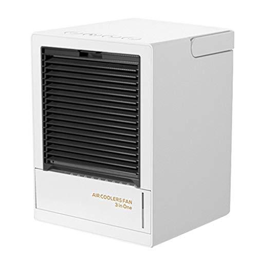 AAADRESSES Mini Ventilador Enfriador Aire Acondicionado, Enfriador Aire Portátil Recargable 5000 mAh, para Enfriamiento Aire en Hogar o Oficina,Blanco