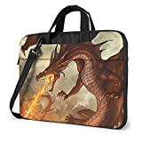 Laptop Messenger Bag Fire Dragons Shockproof Briefcase Sleeve Protective Bag Laptop Carrying Case Handbag with Strap,Compatible with MacBook Tablet Ultrabook (13 in,14 in)